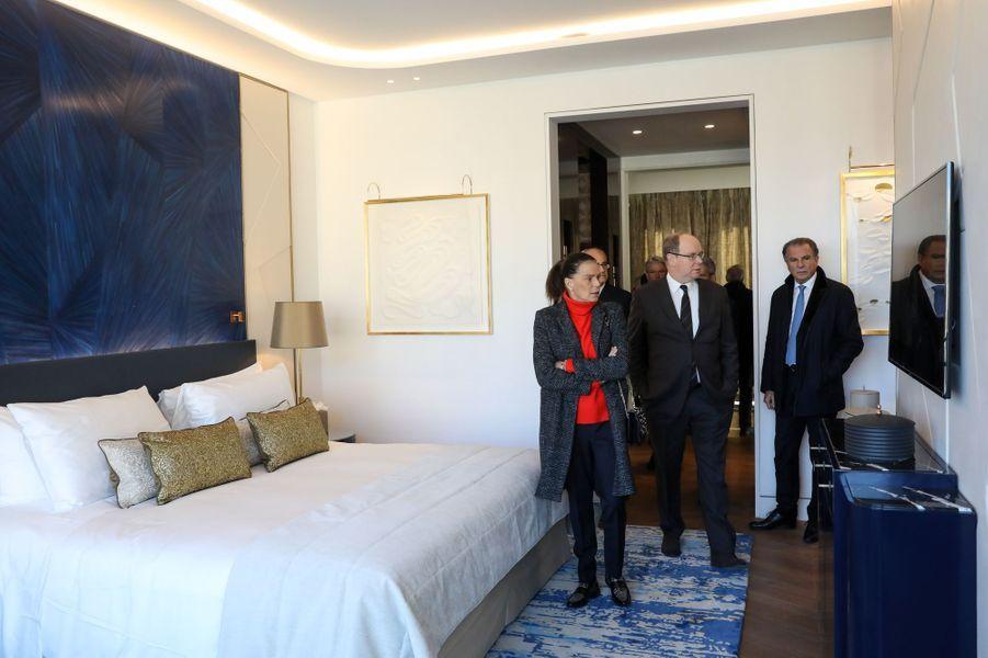 La princesse Stéphanie et le prince Albert II de Monaco dans la suite Prince Rainier III à l'Hôtel de Paris Monte-Carlo, le 29 janvier 2019