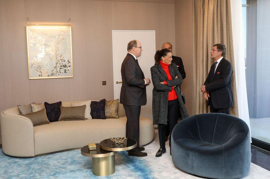La princesse Stéphanie et le prince Albert II de Monaco à Monaco, le 29 janvier 2019