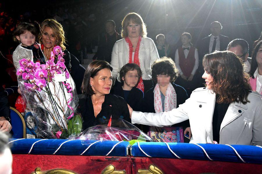 La princesse Stéphanie de Monaco et Pauline Ducruet à Monaco, le 1er février 2020, jour de ses 55 ans