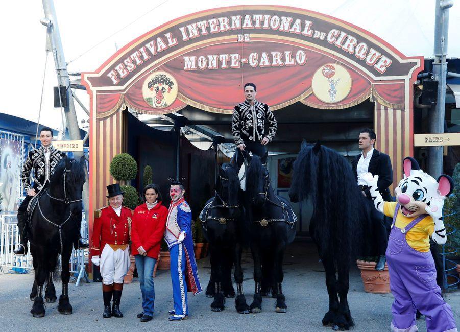 La princesse Stéphanie de Monaco avec Petit Gougou, Henry Ayala et les cavaliers du Cirque national suisse Knie à Monaco, le 14 janvier 2020