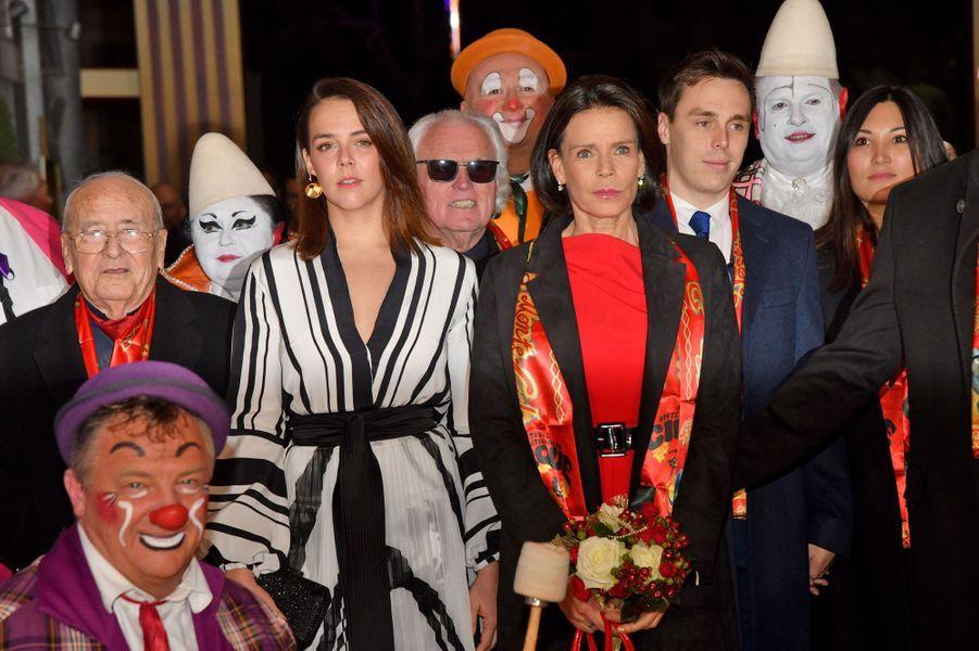 La princesse Stéphanie de Monaco avec ses enfants Pauline et Louis Ducruet et sa belle-fille Marie Chevallier à Monaco, le 16 janvier 2020