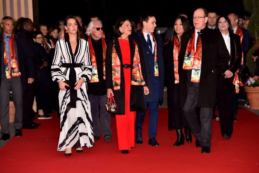 La princesse Stéphanie de Monaco avec ses enfants Pauline et Louis Ducruet, sa belle-fille Marie Chevallier, et son frère le prince Albert II à Monaco, le 16 janvier 2020
