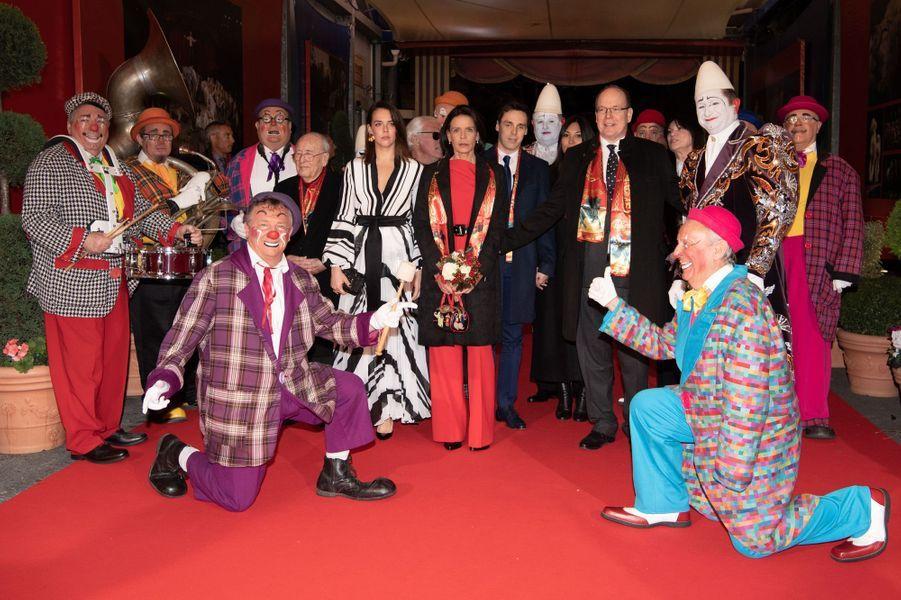 La princesse Stéphanie de Monaco avec le prince Albert II, Pauline, Louis et Marie Ducruet à Monaco, le 16 janvier 2020