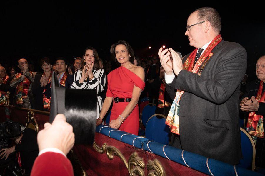 La princesse Stéphanie de Monaco avec sa fille Pauline Ducruet et le prince Albert II à Monaco, le 16 janvier 2020