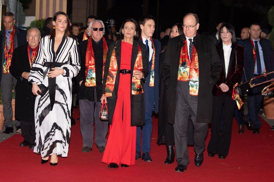 La princesse Stéphanie de Monaco avec le prince Albert II et Pauline, Louis et Marie Ducruet à Monaco, le 16 janvier 2020