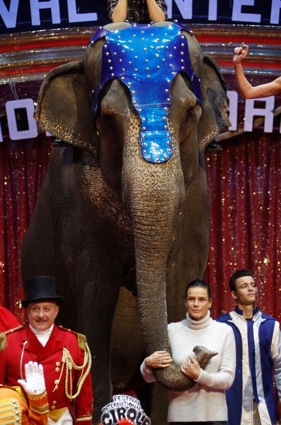 La princesse Stéphanie de Monaco lance le 43e Festival international du cirque de Monte-Carlo à Monaco, le 15 janvier 2019