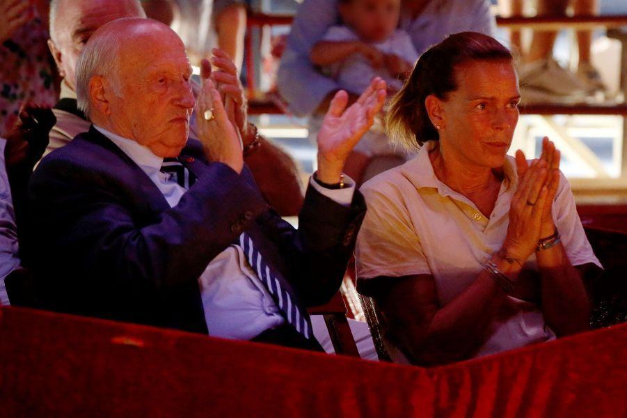 La princesse Stéphanie de Monaco sous le chapiteau du cirque Piedon à La Turbie, le 28 août 2018