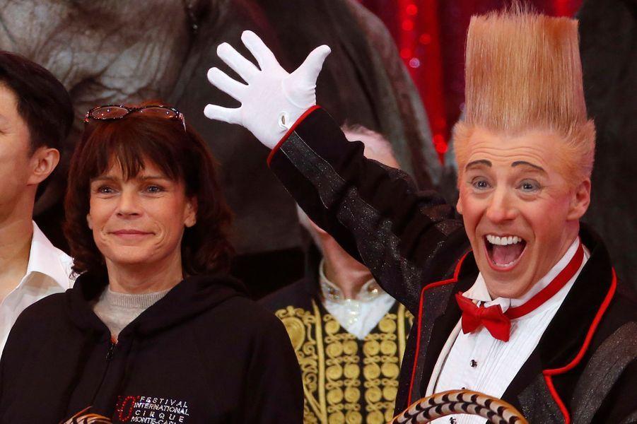 La princesse Stéphanie de Monaco lance le 40e Festival du cirque de Monaco, le 12 janvier 2016