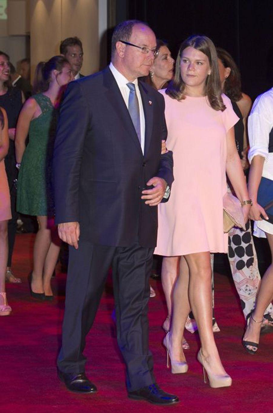 Le prince Albert II de Monaco et sa nièce Camille au gala de la fondation Fight Aids