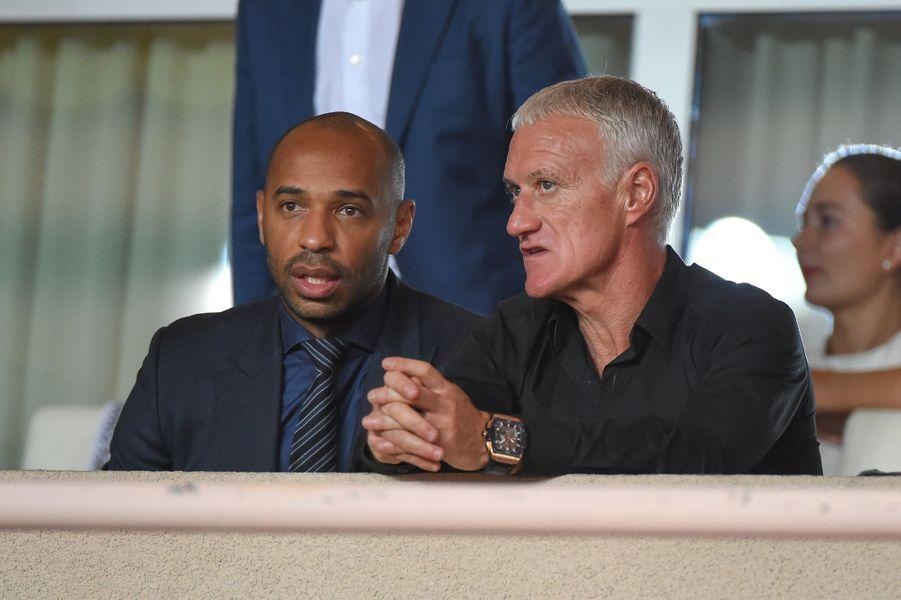 Thierry Henry et Didier Deschamps à Monaco, le 18 septembre 2018