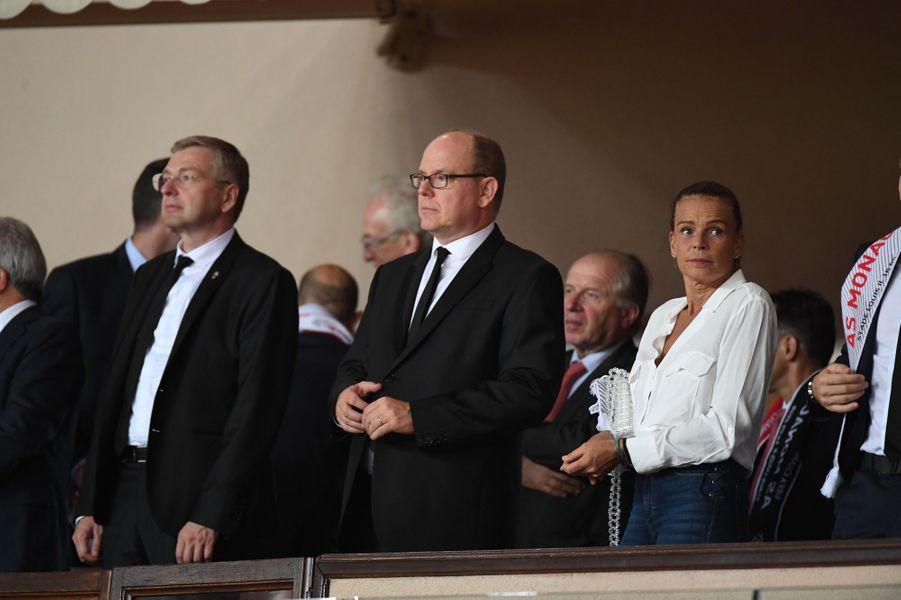 La princesse Stéphanie de Monaco avec le prince Albert II à Monaco, le 18 septembre 2018