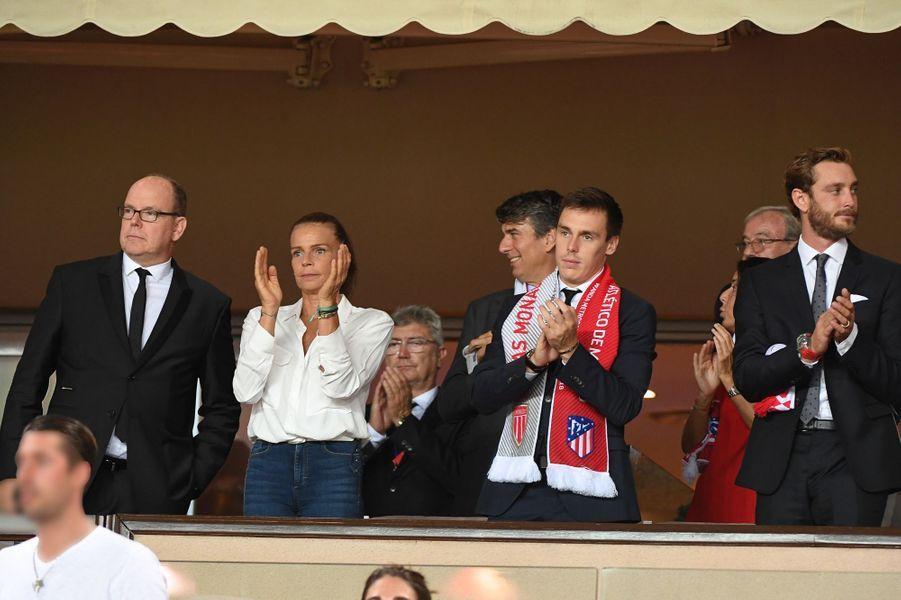 Le prince Albert II et la princesse Stéphanie de Monaco avec Louis Ducruet et Pierre Casiraghi à Monaco, le 18 septembre 2018