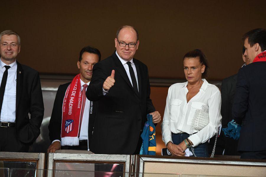La princesse Stéphanie de Monaco avec le prince Albert II et Louis Ducruet à Monaco, le 18 septembre 2018
