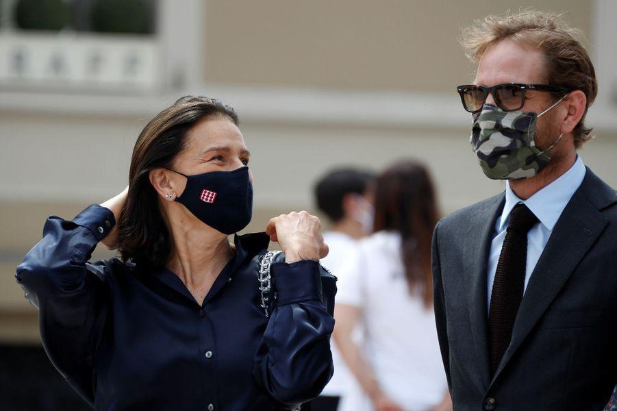 La princesse Stéphanie de Monaco et Andrea Casiraghi à Monaco, le 2 juin 2020