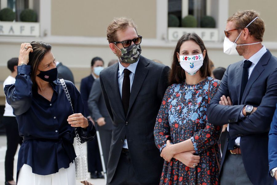 La princesse Stéphanie de Monaco avec Andrea et Pierre Casiraghi et Tatiana Santo Domingo à Monaco, le 2 juin 2020