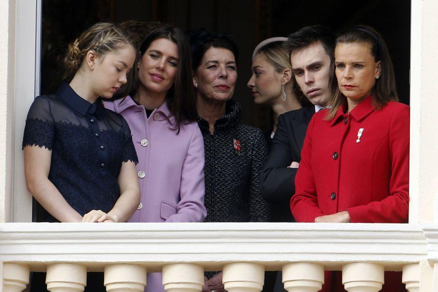 Alexandra de Hanovre, Charlotte Casiraghi, Caroline de Hanovre, Beatrice Borromeo-Casiraghi, Louis Ducruet et Stéphanie de Monaco à Monaco, le 19...