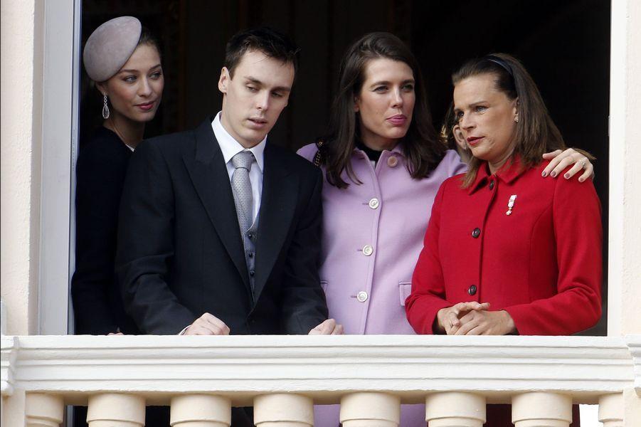 Beatrice Borromeo-Casiraghi, Louis Ducruet, Charlotte Casiraghi et la princesse Stéphanie de Monaco à Monaco, le 19 novembre 2015