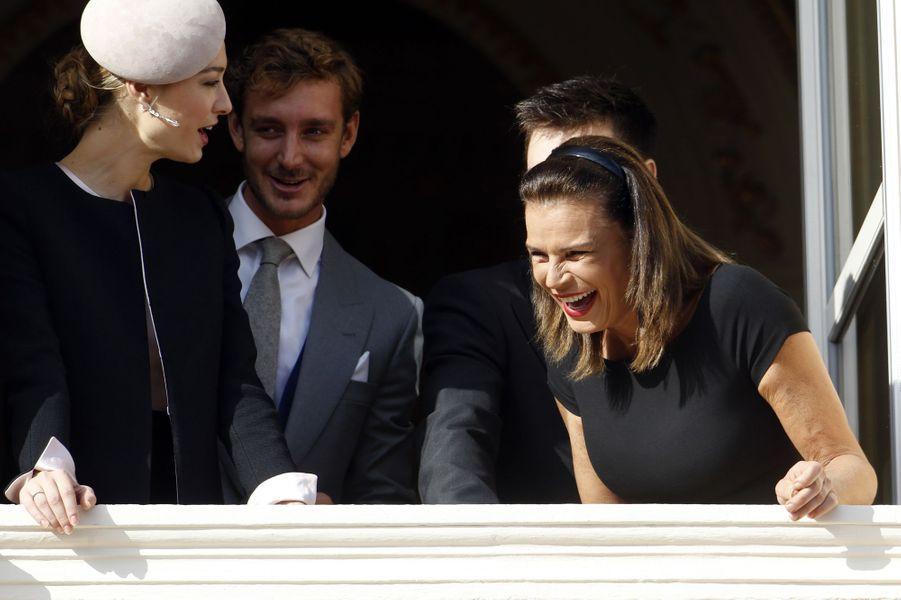 Beatrice et Pierre Casiraghi, Louis Ducruet et la princesse Stéphanie de Monaco à Monaco, le 19 novembre 2015