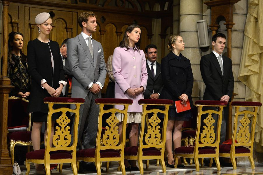 Beatrice, Pierre et Charlotte Casiraghi, la princesse Alexandra de Hanovre et Louis Ducruet à Monaco, le 19 novembre 2015
