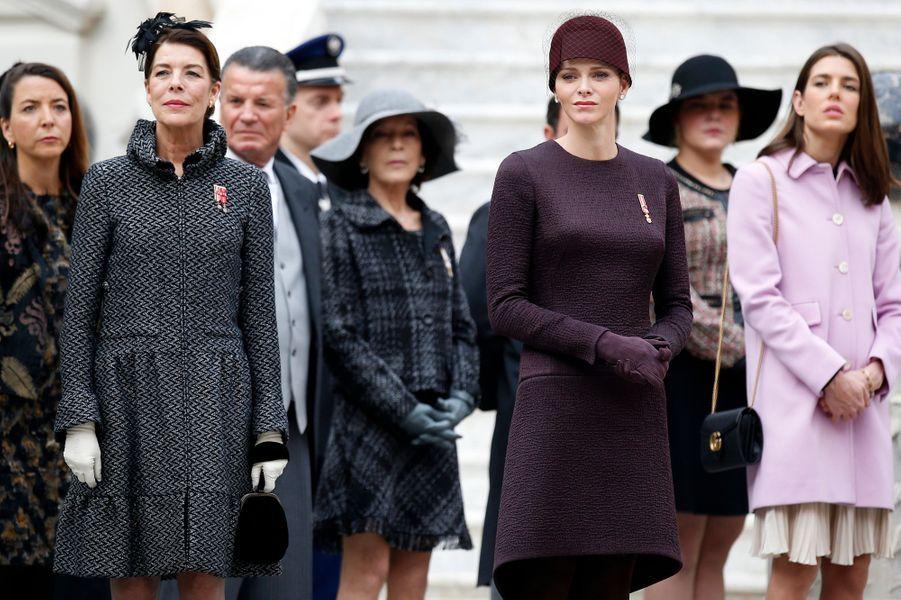 La princesse Caroline de Hanovre, la princesse Charlène de Monaco et Charlotte Casiraghi à Monaco, le 19 novembre 2015