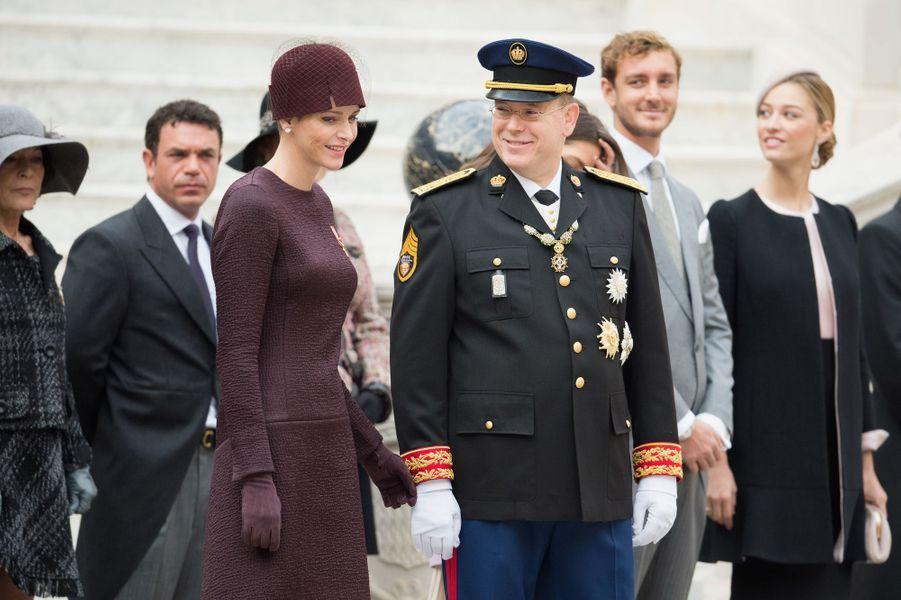 La princesse Charlène et le prince Albert II de Monaco avec Pierre et Beatrice Casiraghi à Monaco, le 19 novembre 2015