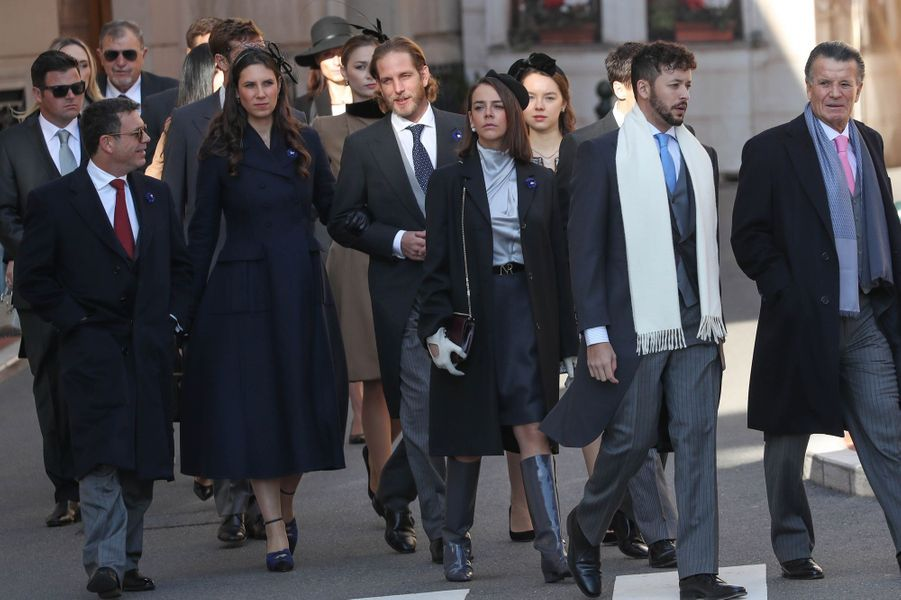Andrea Casiraghi et sa femme Tatiana Santo Domingo, Pauline Ducruet et la princesse Alexandra de Hanovre à Monaco, le 19 novembre 2018