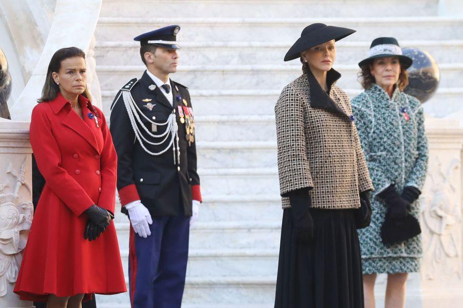 Les princesses Stéphanie et Charlène de Monaco et la princesse Caroline de Hanovre à Monaco, le 19 novembre 2018