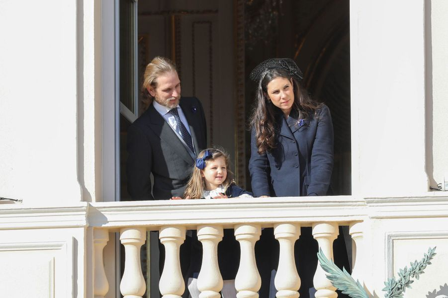 Andrea Casiraghi avec sa femme Tatiana Santo Domingo et leur fille India à Monaco, le 19 novembre 2018