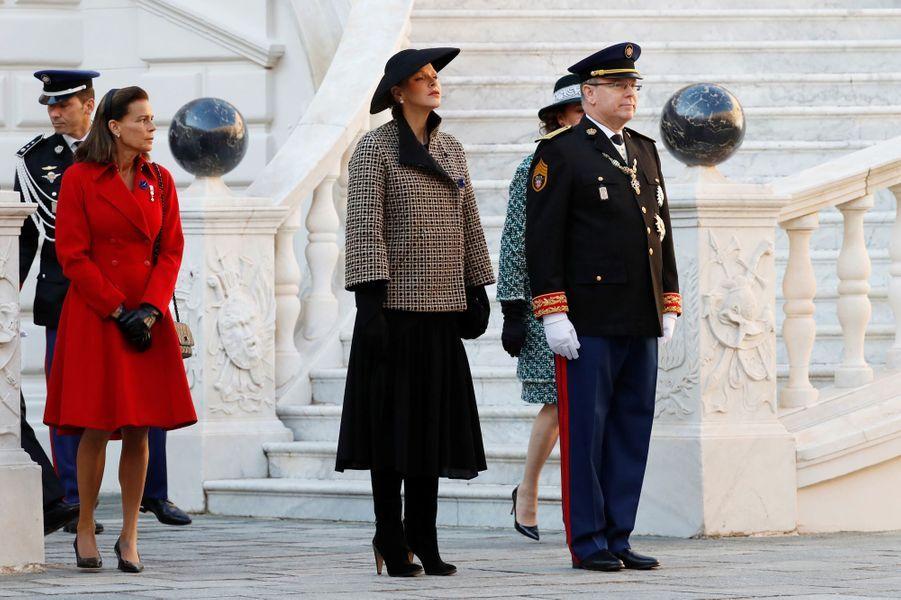 Les princesses Stéphanie et Charlène, le prince Albert II de Monaco et la princesse Caroline de Hanovre à Monaco, le 19 novembre 2018