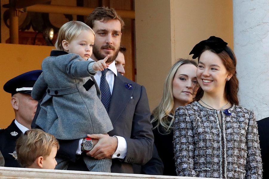 Pierre Casiraghi et son fils Stefano avec la princesse Alexandra de Hanovre à Monaco, le 19 novembre 2018