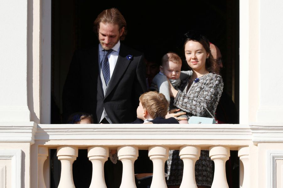 Andrea, Sacha et Francesco Casiraghi avec la princesse Alexandra de Hanovre à Monaco, le 19 novembre 2018