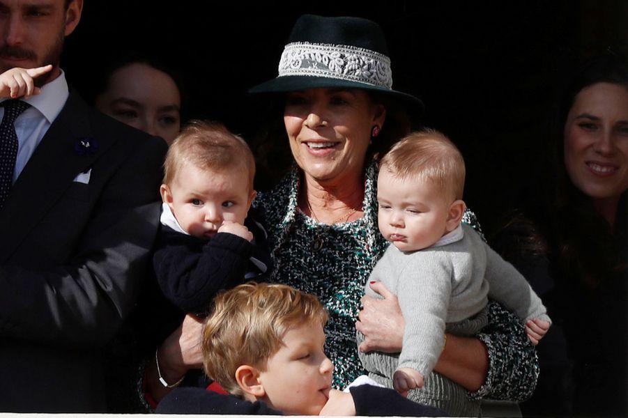 La princesse Caroline de Hanovre avec Maximilian, Sacha et Francesco Casiraghi à Monaco, le 19 novembre 2018