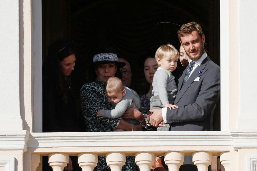 La princesse Caroline de Hanovre avec Francesco, Stefano et Pierre Casiraghi à Monaco, le 19 novembre 2018