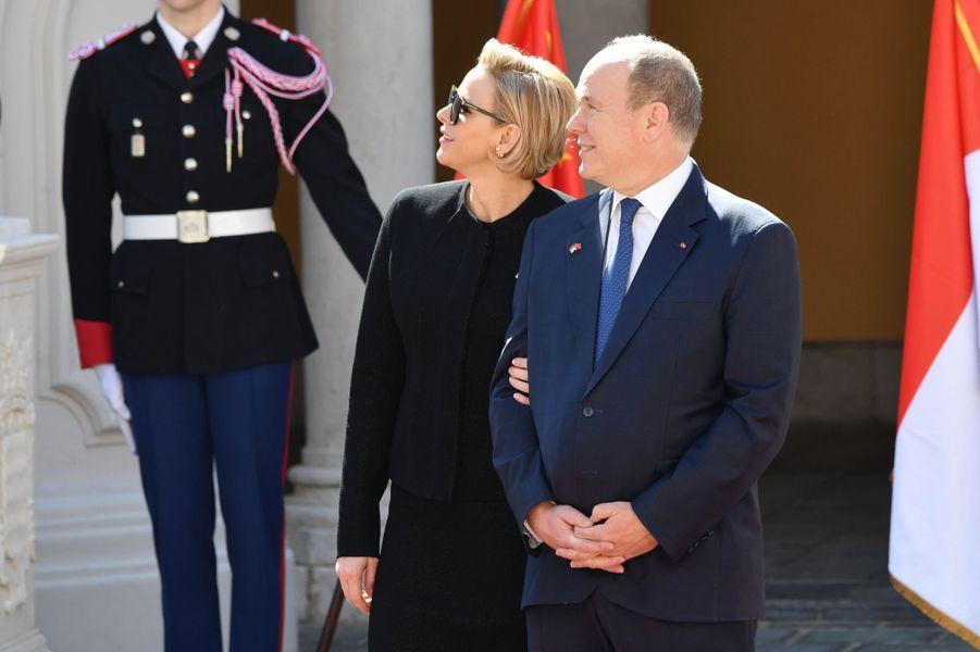 La princesse Charlène et le prince Albert II de Monaco à Monaco, le 24 mars 2019