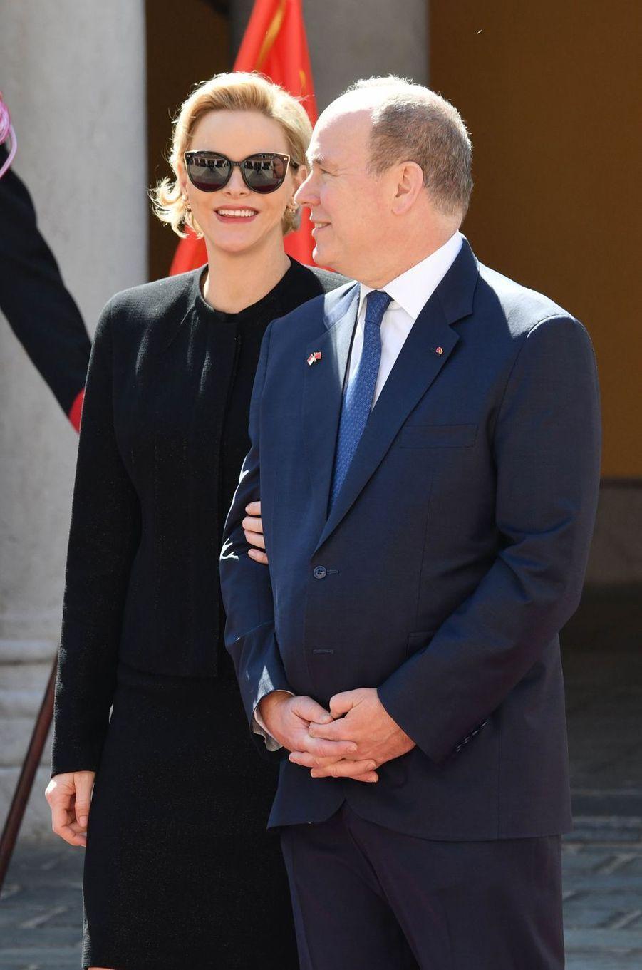 La princesse Charlène de Monaco et le prince Albert II de Monaco à Monaco, le 24 mars 2019