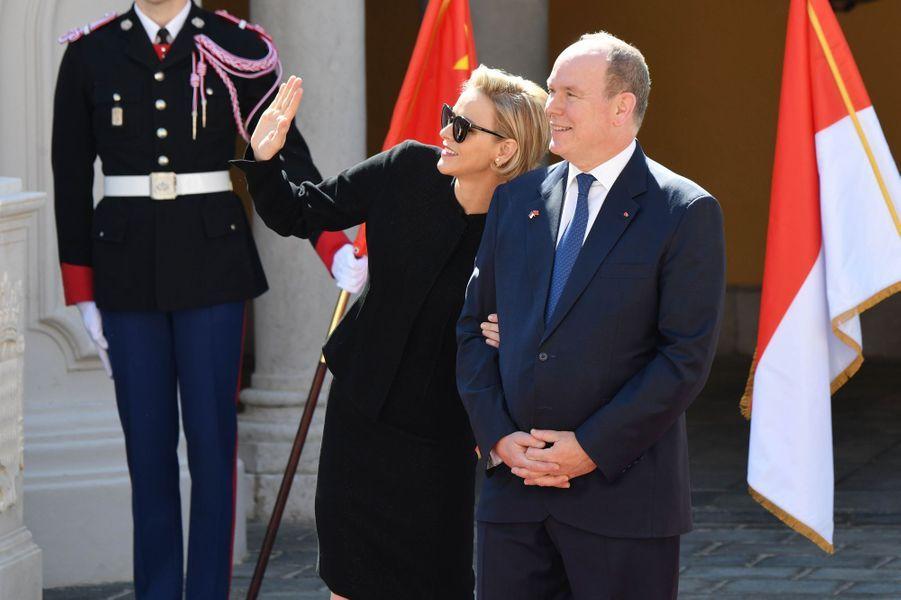 La princesse Charlène et le prince Albert II de Monaco, le 24 mars 2019 à Monaco