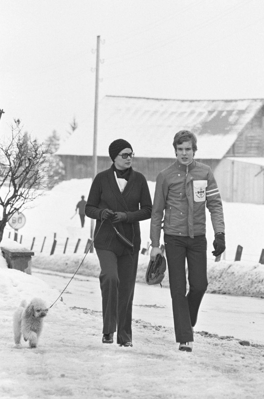 Le prince Albert de Monaco avec la princesse Grace, en 1973