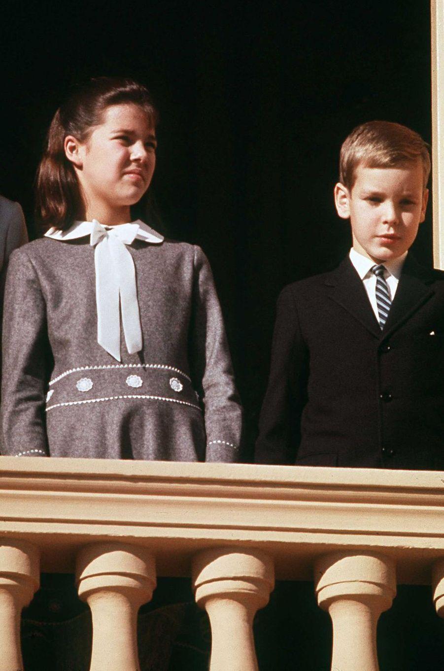 Le prince Albert de Monaco avec la princesse Caroline, le 19 novembre 1968