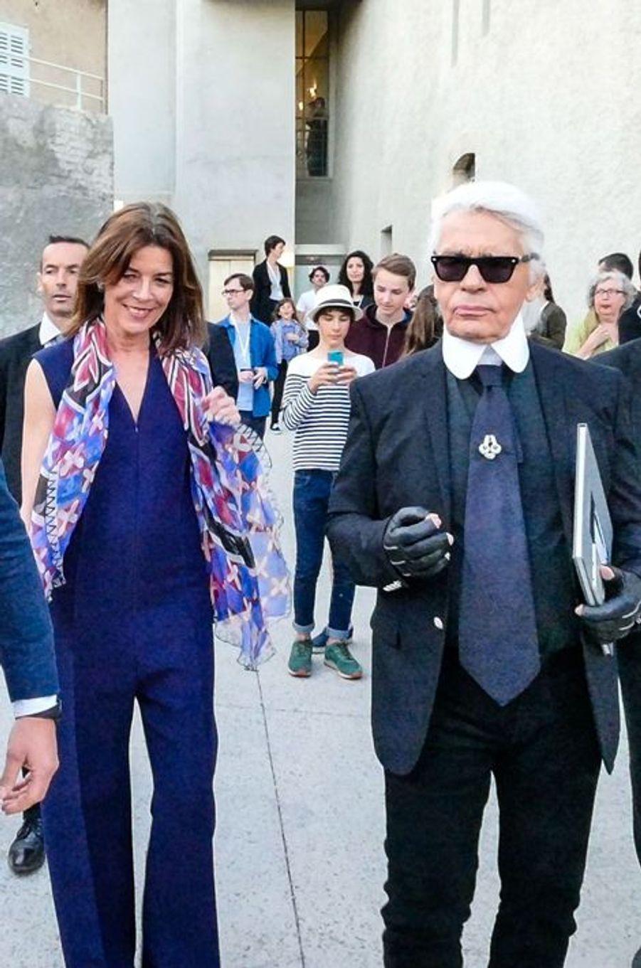 La princesse Caroline de Hanovre avec Karl Lagerfeld à Hyères, le 23 avril 2015