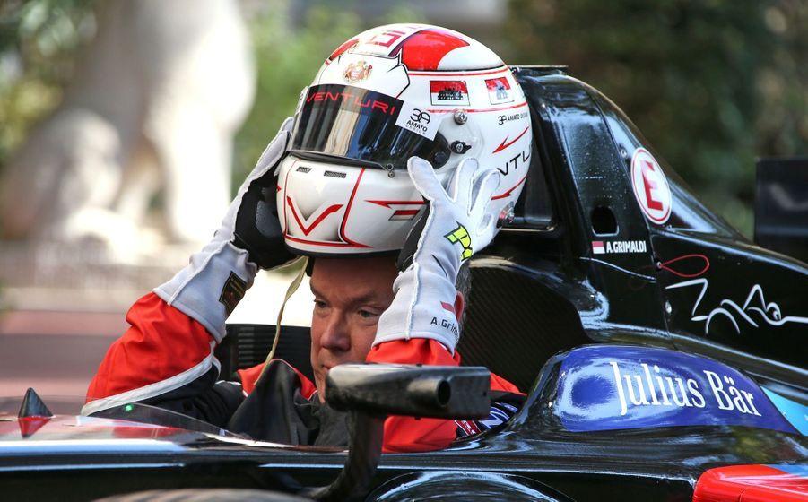 Albert de Monaco au volant de la nouvelle Venturi Formule E