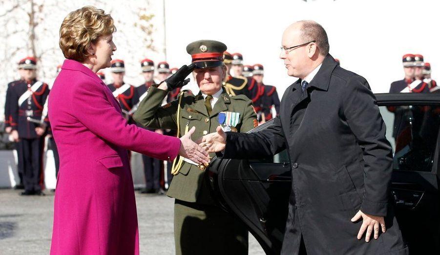 Albert et la présidente d'Irlande Mary McAleese.