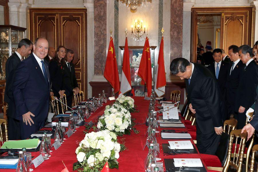 Albert II de Monaco et Xi Jinping.