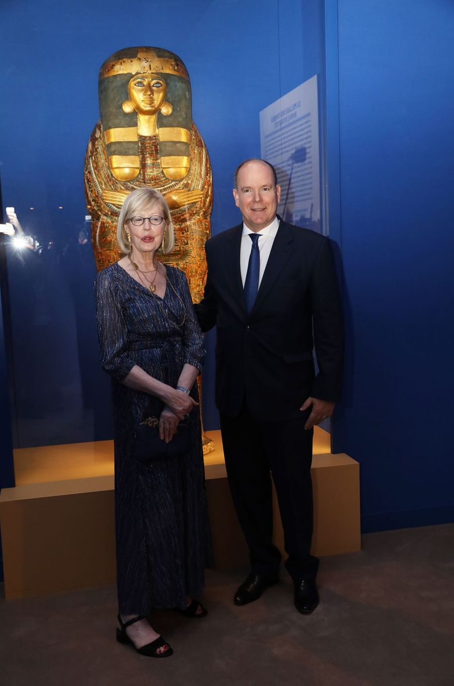 Le prince Albert II de Monaco avec Christiane Ziegler à Monaco, le 6 juillet 2018