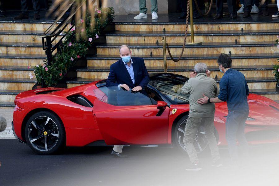 Le prince Albert II de Monaco avec Claude Lelouch à Monaco, le 24 mai 2020