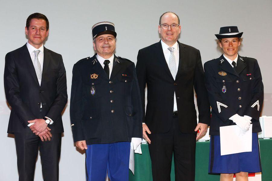 Le prince Albert II de Monaco à la remise des diplômes de la Croix-Rouge monégasque à Monaco, le 16 mars 2015