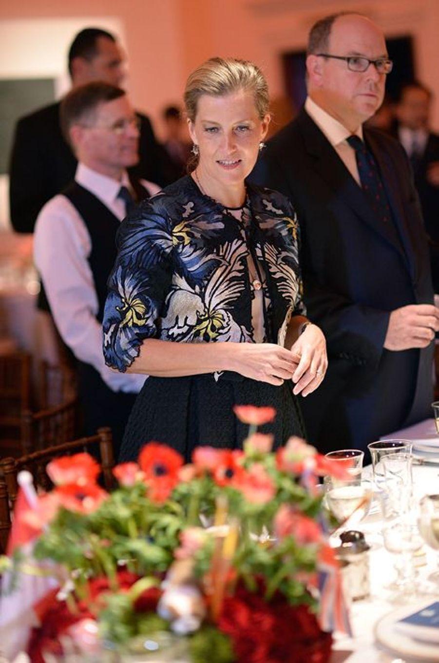 Le prince Albert II de Monaco et Sophie de Wessex à Londres, le 29 octobre 2015