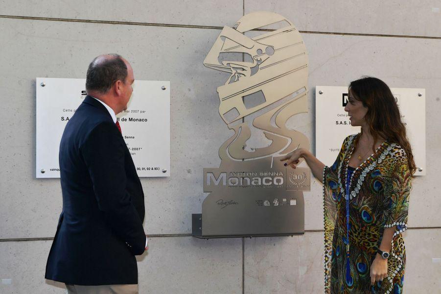 Le prince Albert et Bianca Senna à Monaco,le 24 mai 2017.