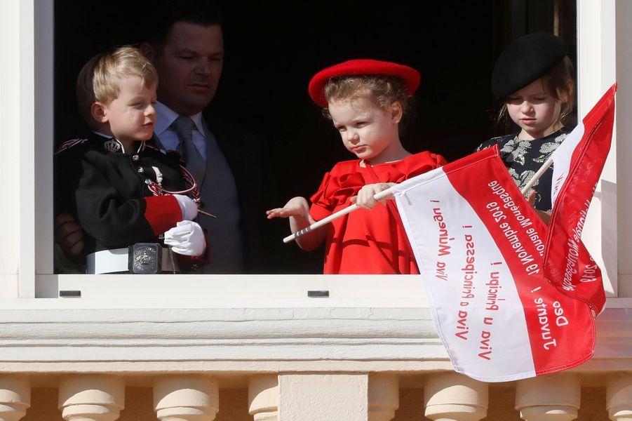 Le prince Jacques et la princesse Gabriella de Monaco et Kaia-Rose Wittstock à Monaco, le 19 novembre 2019
