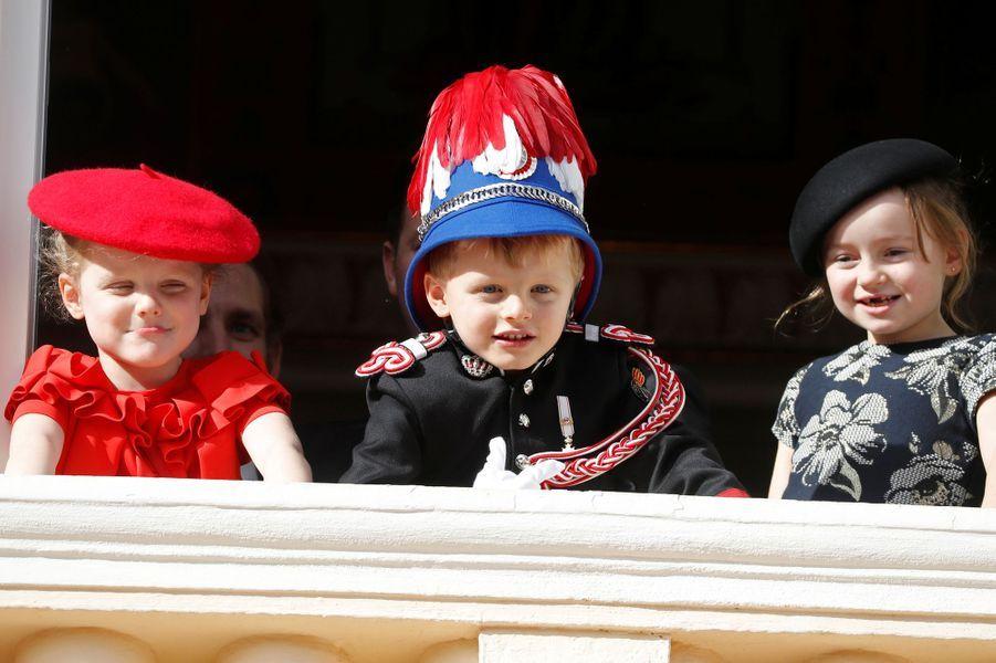 Le prince Jacques et la princesse Gabriella de Monaco avec Kaia-Rose Wittstock à Monaco, le 19 novembre 2019