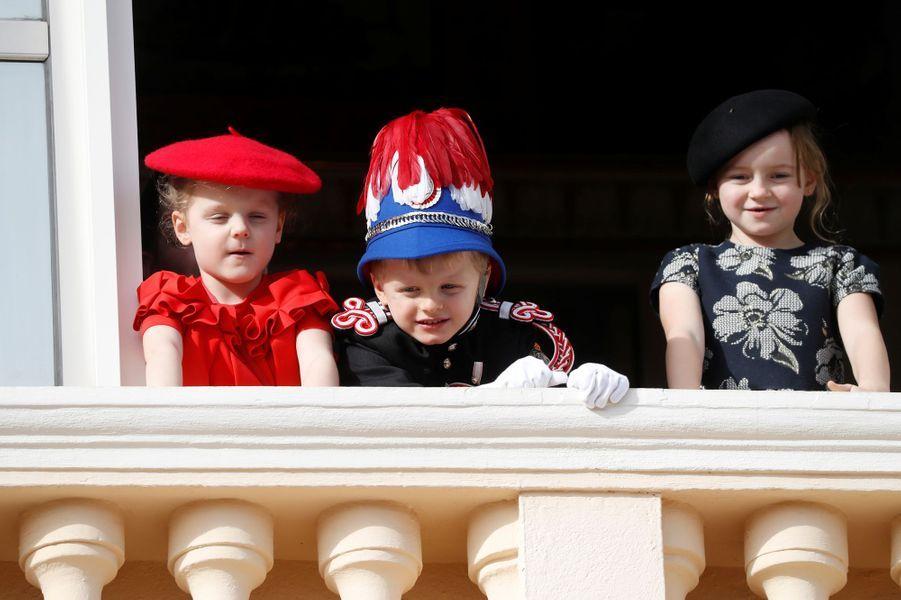 Le prince Jacques et la princesse Gabriella de Monaco avec leur cousine Kaia-Rose Wittstock à Monaco, le 19 novembre 2019